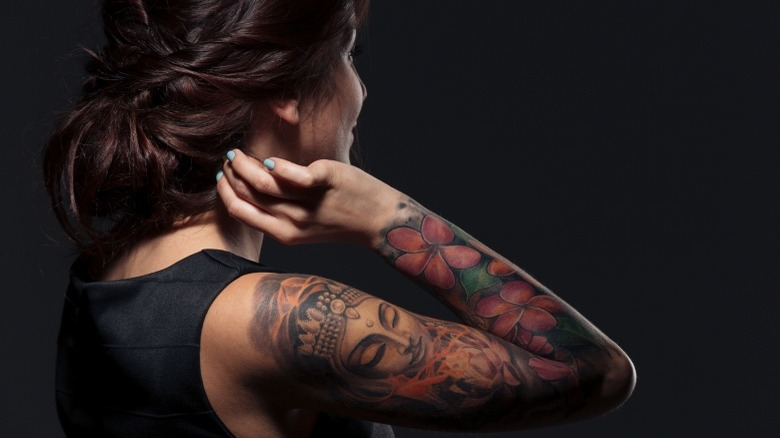 woman with tattoo sleeve
