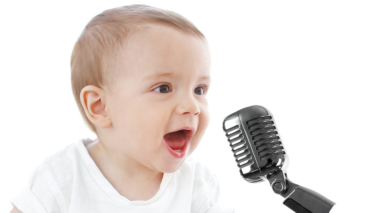 baby boy with microphone
