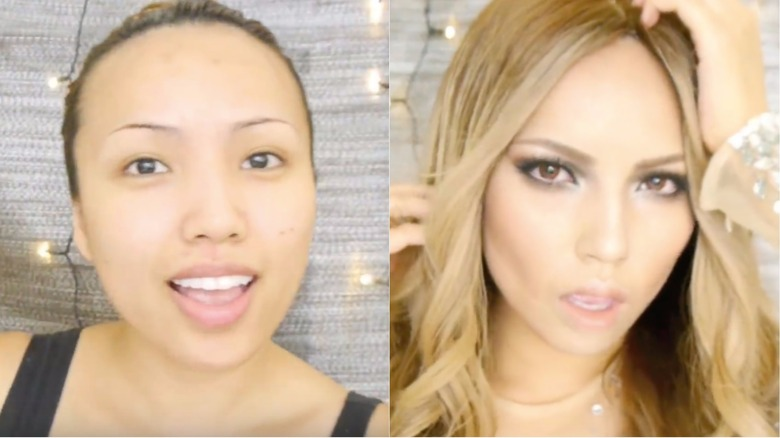 before and after photos show the magic of makeup