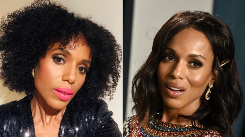 Kerry Washington with natural hair and treated hair