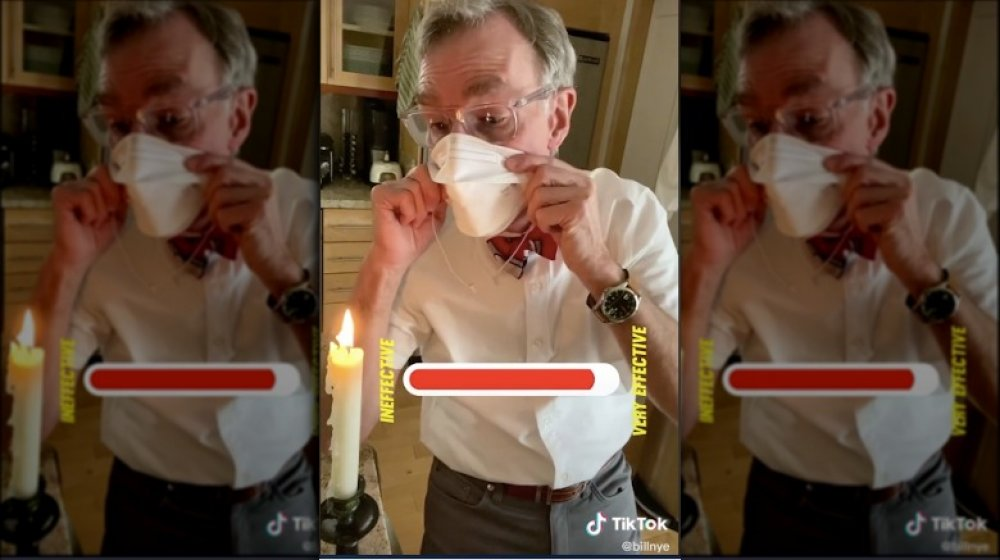 Bill Nye face mask candle test