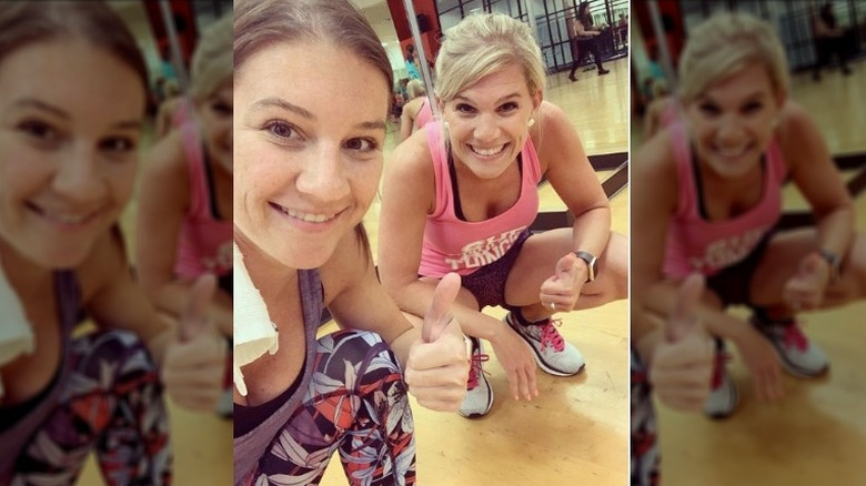 Danielle Busby working out with her sister