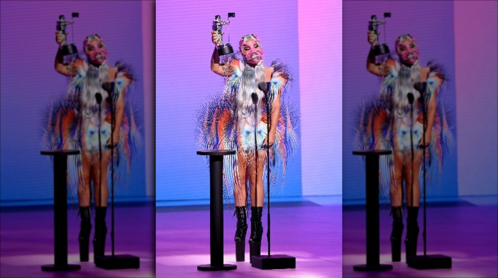lady vmas gaga outfit turned heads mask mtv winter kevin getty point