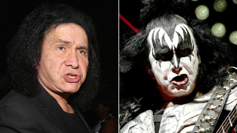 Gene Simmons without and with makeup
