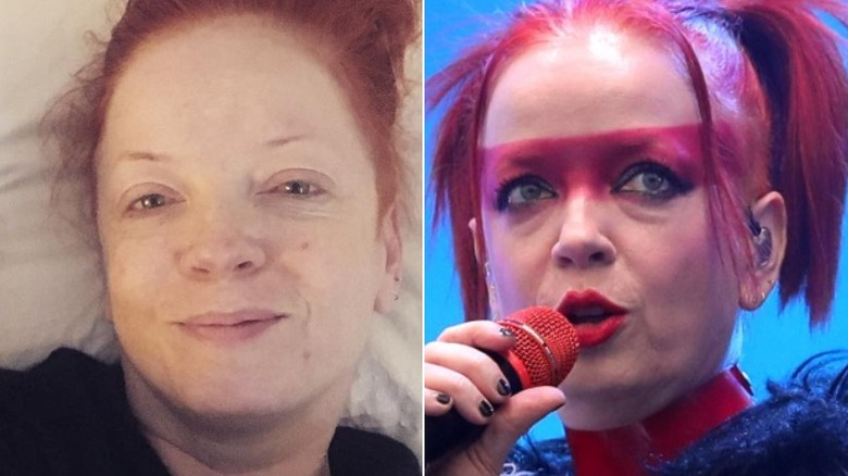 Shirley Manson, without and with makeup