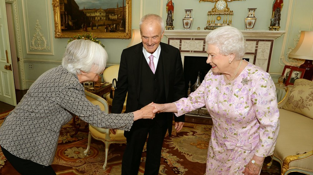 Judith Weir and Peter Maxwell Davies with Queen Elizabeth II