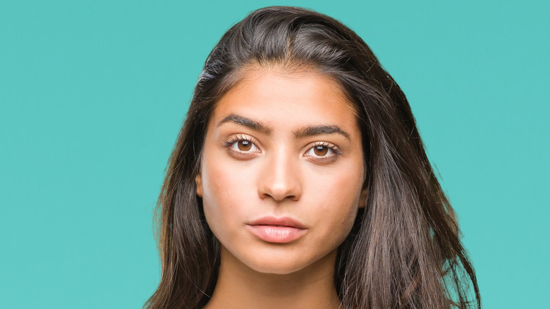 Woman with simple facial features