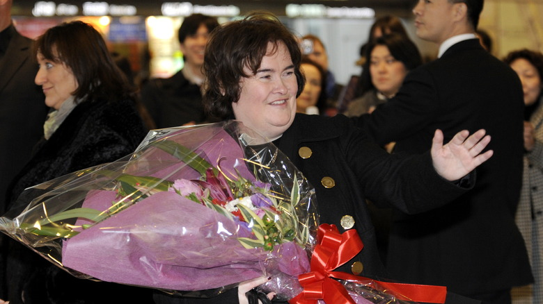 Susan Boyle with flowers