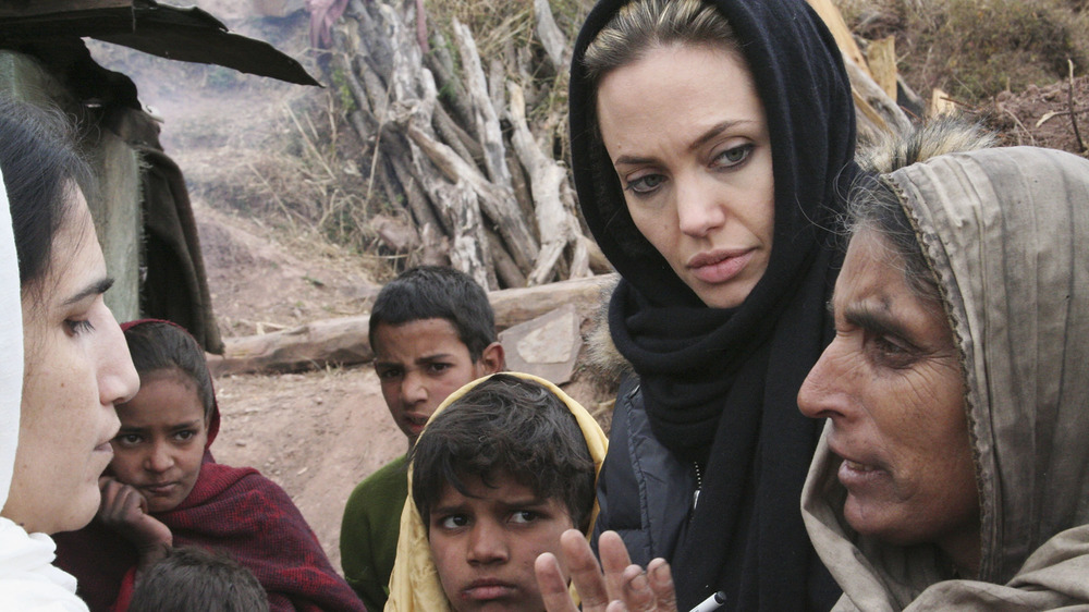 Angelina Jolie on a trip abroad with a family