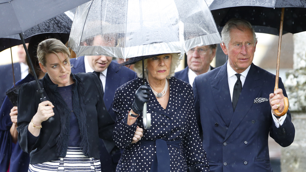 Laura Lopes, Camilla Parker Bowles, Prince Charles at the funeral of Mark Shand