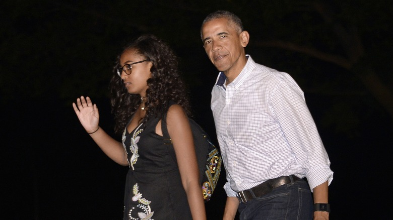 Sasha Obama and her father, Barack Obama