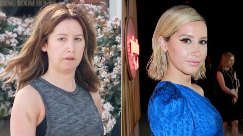 Ashley Tisdale without and with makeup