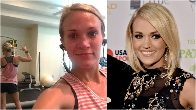 Carrie Underwood split image no makeup