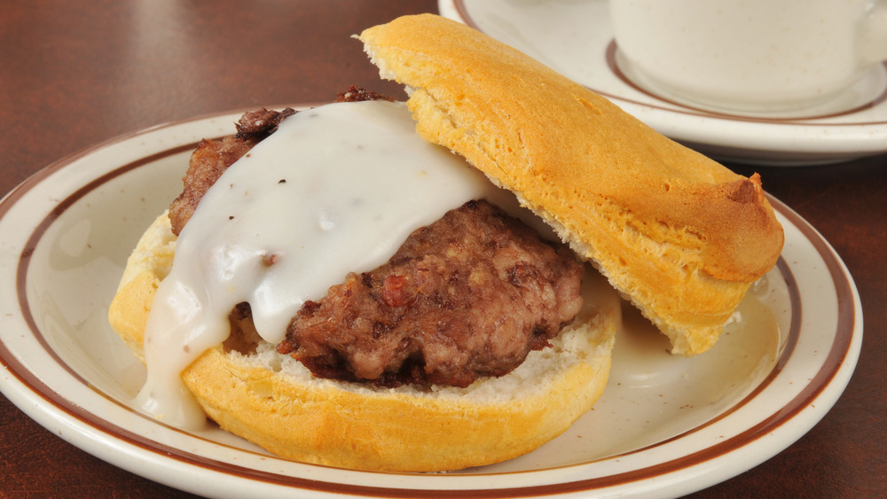 Biscuit with sausage and gravy