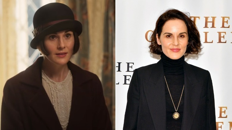 Michelle Dockery, split image